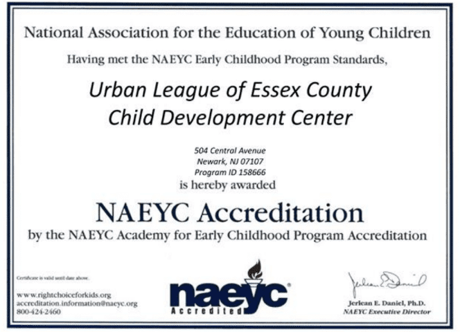 NAEYC Urban League of Essex Certification